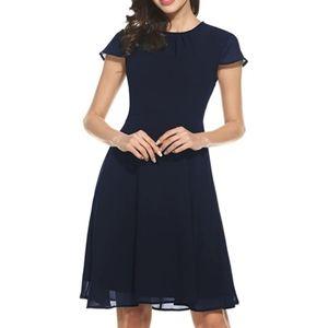 NWT Fit & Flare Navy Blue Chiffon Dress Cap Sleeve